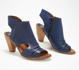 Miz Mooz Leather Peep-Toe Heeled Sandals - Mindy