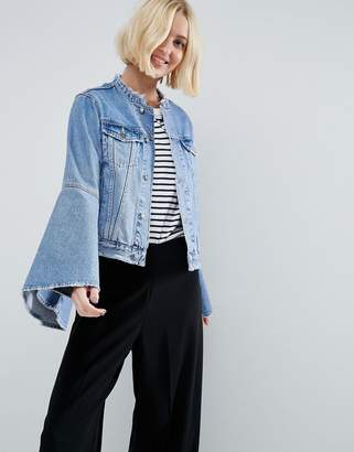 ASOS Denim Jacket With Rips and Fluted Sleeve $76 thestylecure.com