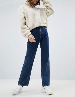 Weekday row high waist jeans in win blue in Organic Cotton