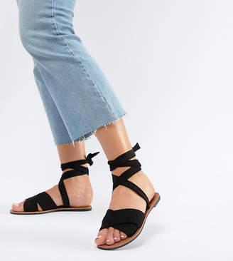 Park Lane Wide Fit Tie Leg Flat Sandals