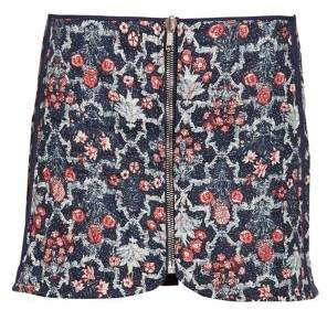 Etoile Isabel Marant Marily Reversible Floral Quilted Zip Linen Mini Skirt