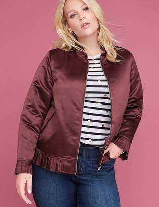 Lane Bryant Ruffle-Trim Satin Bomber Jacket