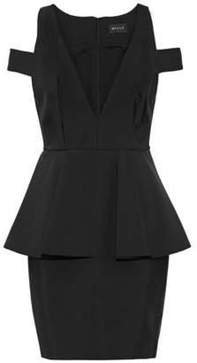 Milly Cold-Shoulder Neoprene Peplum Mini Dress
