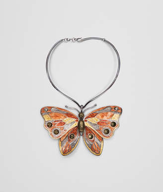Bottega Veneta MULTICOLOR ANTIQUE SILVER BUTTERFLY NECKLACE