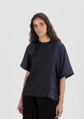 Sacai Cupro Stripe and Jacquard T-Shirt Black/Navy