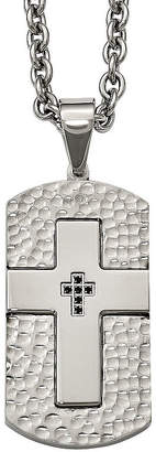 FINE JEWELRY Mens Black Cubic Zirconia Stainless Steel Cross Dog Tag Pendant