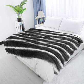 "Unique Bargains Soft Shaggy Faux Fur Plush Throw Blanket 50"" x 60"" Gray and White"