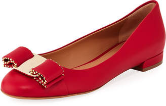 Salvatore Ferragamo Leather Ballerina Flat with Studded Vara Bow