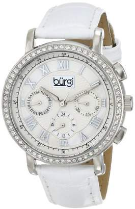 Burgi Women's Round Crystal Embellished Silver-Tone Watch with White Leather Strap