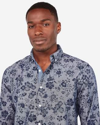Express Slim Soft Wash Floral Print Cotton Button-Down Shirt