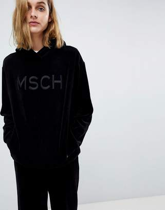 Moss Copenhagen Luxe Hoodie In Velour With Embroidered Logo Patch Two-Piece