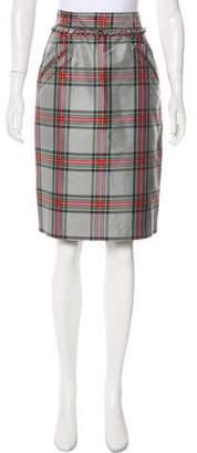 Luella Plaid Print Silk Skirt