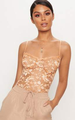 PrettyLittleThing Tan Strappy Lace Cup Detail Thong Bodysuit