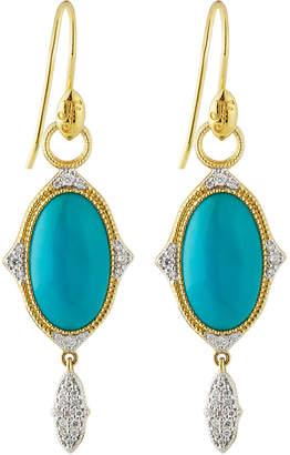 Jude Frances 18K Moroccan Oval Drop Earrings, Moonstone