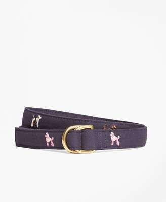 Brooks Brothers Dog-Embroidered D-Ring Belt