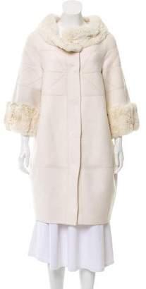 J. Mendel Chinchilla-Trimmed Knee-Length Coat