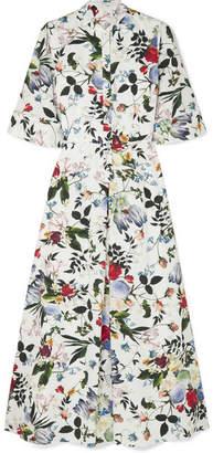 Erdem Kaiya Floral-print Cotton-poplin Midi Dress - White