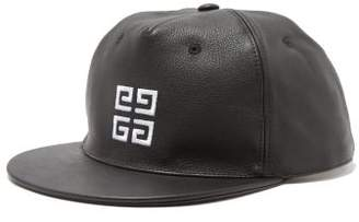 Givenchy Logo Embroidered Leather Cap - Mens - Black White