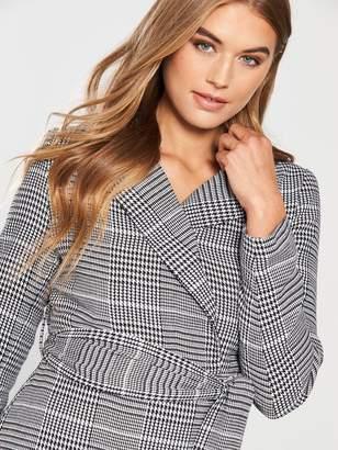 92bd83599826 Lost Ink Check Belted Blazer Dress - Black/White