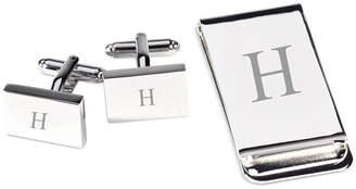 Bey-Berk Monogrammed Silver Plated Rectangular Design Cufflinks & Money Clip Gift Set