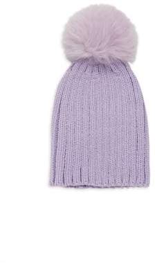 Adrienne Landau Kid's Fox Fur Pom-Pom Knit Beanie