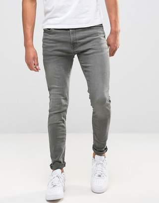 Jack and Jones Intelligence skinny jeans in washed gray