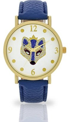 ACCUTIME WATCH CORP Women's Royal Fox Dial Watch, Faux Leather Band
