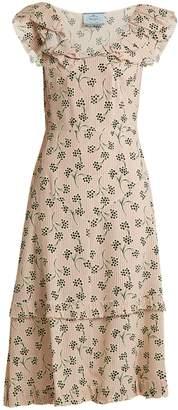 Prada Floral and striped-print crepe dress