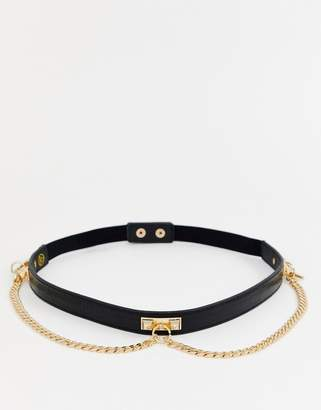Missguided gold chain detail belt in black
