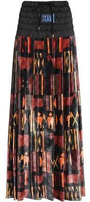 Stella Jean Satin-Paneled Pleated Printed Velvet Maxi Skirt