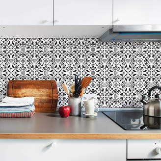 SirFace Graphics Moroccan Monochrome Tile Stickers Set Pack Of 24