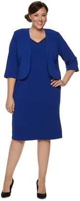 Plus Size Maya Brooke Lace & Beaded Jacket Dress