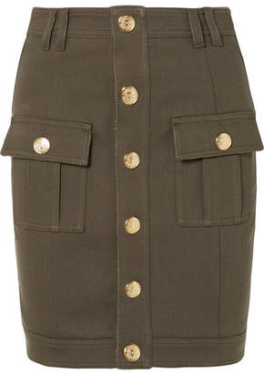 Balmain Button-embellished Denim Mini Skirt - Army green