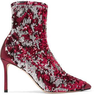 Jimmy Choo Ricky 85 Metallic Leather-trimmed Sequined Stretch-knit Sock Boots - Fuchsia