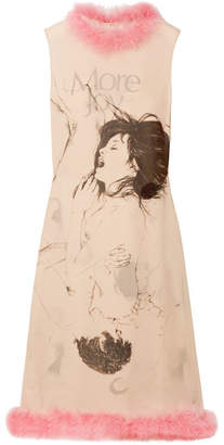 Christopher Kane Feather-trimmed Printed Silk-georgette Midi Dress - Beige
