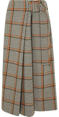 REJINA PYO - Ellis Checked Wool-blend Wrap Skirt - Brown