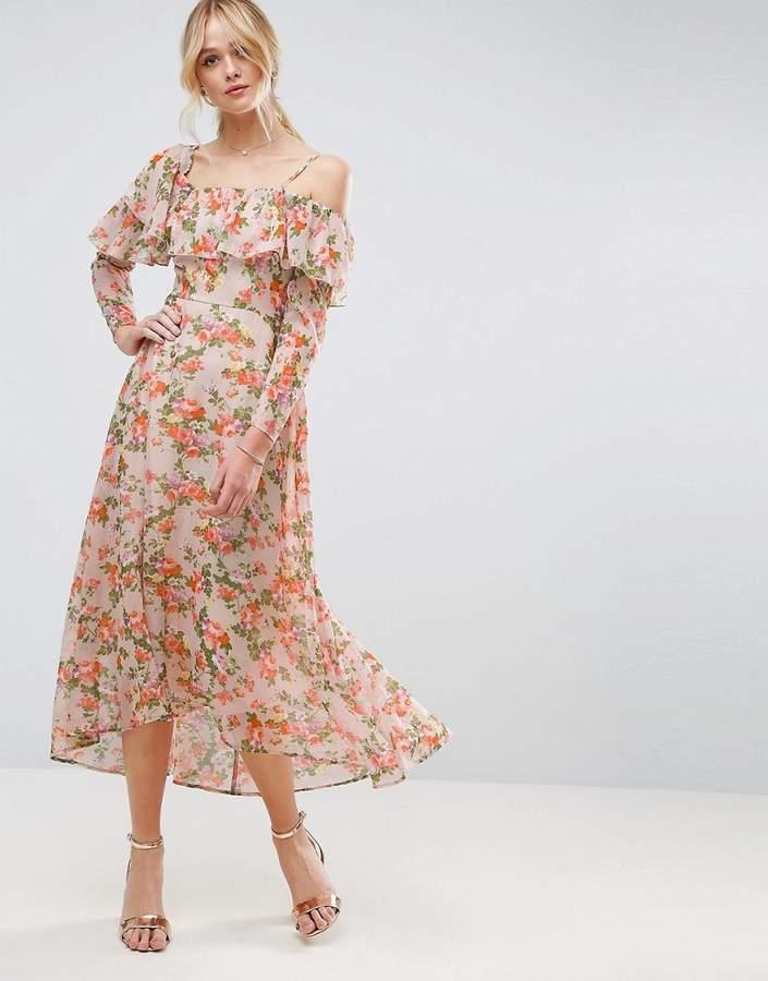 AsosASOS Maxi Tea Dress with Ruffle in Floral Print