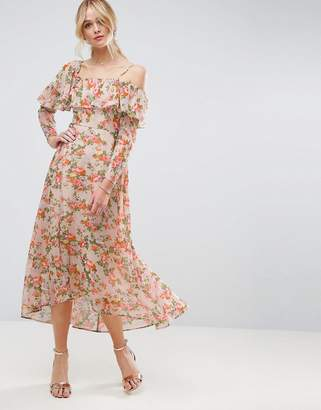 ASOS Maxi Tea Dress with Ruffle in Floral Print $76 thestylecure.com