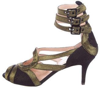 Jean Paul Gaultier Metallic Multistrap Sandals w/ Tags $395 thestylecure.com
