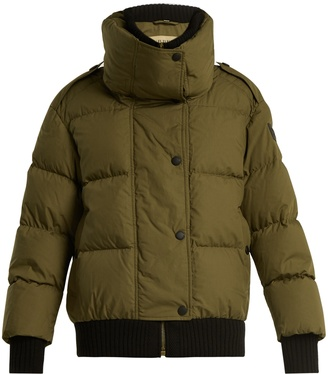 Funnel-collar quilted-down cotton jacket