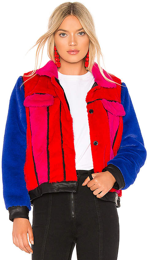 BLANKNYC Multi Color Faux Fur Jacket