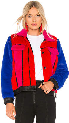Blank NYC BLANKNYC Multi Color Faux Fur Jacket