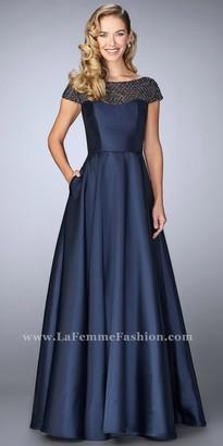 La Femme Beaded Mikado Cap Sleeve Evening Dress $538 thestylecure.com