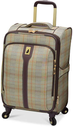 "London Fog Knightsbridge 21"" Carry On Expandable Spinner Suitcase, Available in Brown and Grey Glen Plaid, Created for Macy's"
