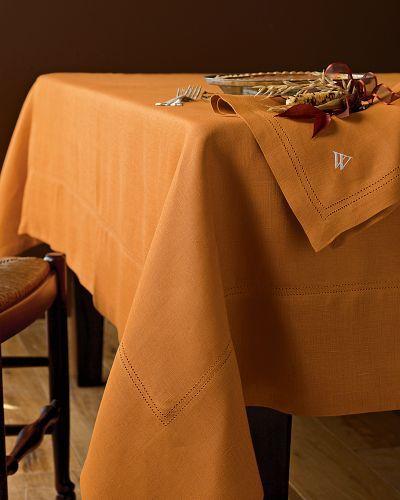 Hemstitched Linen Tablecloths, Pumpkin