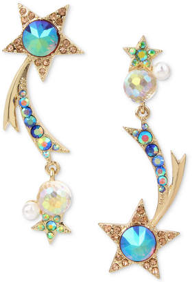 Betsey Johnson Gold-Tone Multi-Stone Shooting Star Mismatch Earrings