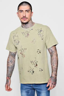 boohoo Loose Fit Washed Distressed T-Shirt