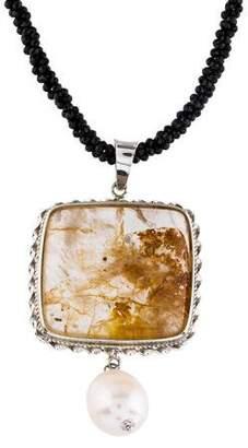Tagliamonte Quartz, Pearl & Black Spinel Pendant Necklace