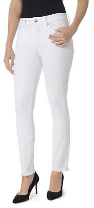 NYDJ Sheri Slim Frayed Ankle Jeans in Optic White