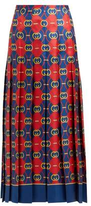 Gucci Gg Jacquard Pleated Silk Faille Midi Skirt - Womens - Red Multi